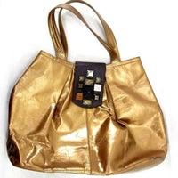 Alfani Gold Leather Hobo Tote Purse Bag