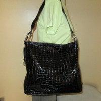 Black Moc Croc Brighton Cher Hobo Bag