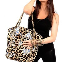 Amrita Singh 23 Leopard Faux Leather Tote Purse